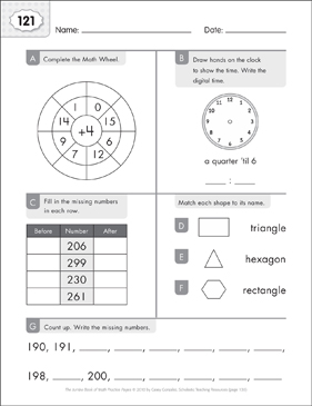 Math Practice Page: 121 (Grades 1-2) - Printable Worksheet