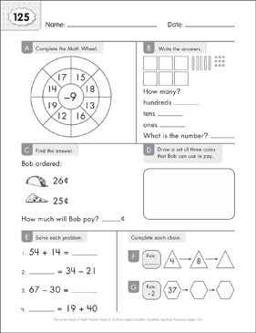 Math Practice Page: 125 (Grades 1-2) - Printable Worksheet