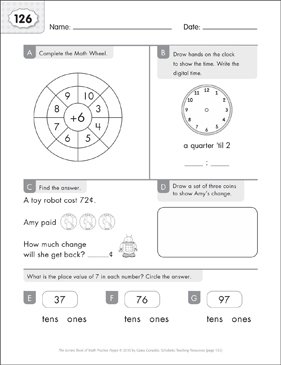 Math Practice Page: 126 (Grades 1-2) - Printable Worksheet