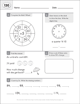 Math Practice Page: 130 (Grades 1-2) - Printable Worksheet