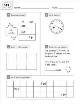 Math Practice Page: 149 (Grades 1-2) - Printable Worksheet