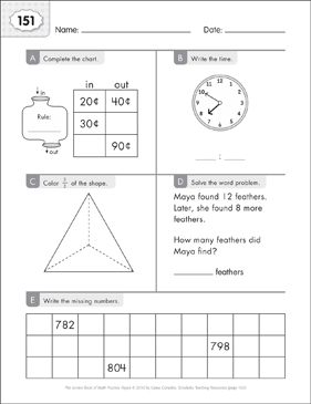 Math Practice Page: 151 (Grades 1-2) - Printable Worksheet