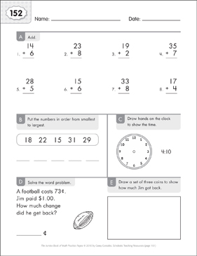 Math Practice Page: 152 (Grades 1-2) - Printable Worksheet
