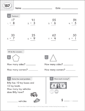 Math Practice Page: 157 (Grades 1-2) - Printable Worksheet