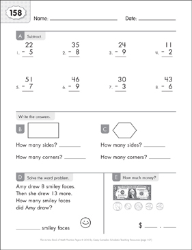 Math Practice Page: 158 (Grades 1-2) - Printable Worksheet