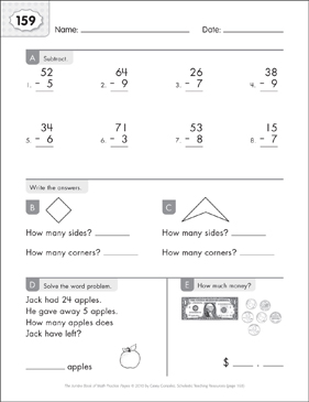 Math Practice Page: 159 (Grades 1-2) - Printable Worksheet