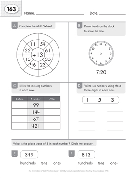 Math Practice Page: 163 (Grades 1-2) - Printable Worksheet