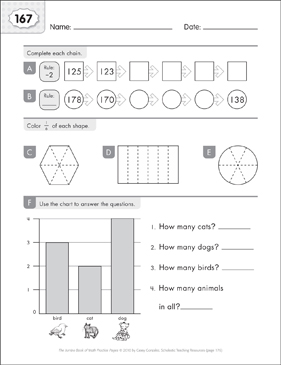 Math Practice Page: 167 (Grades 1-2) - Printable Worksheet