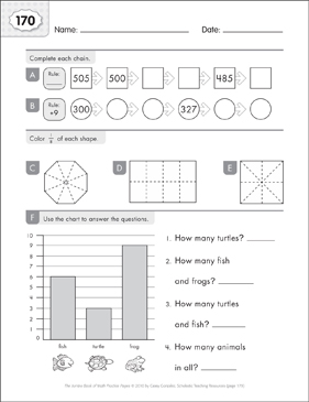 Math Practice Page: 170 (Grades 1-2) - Printable Worksheet