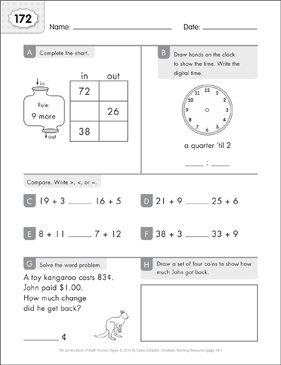 Math Practice Page: 172 (Grades 1-2) - Printable Worksheet