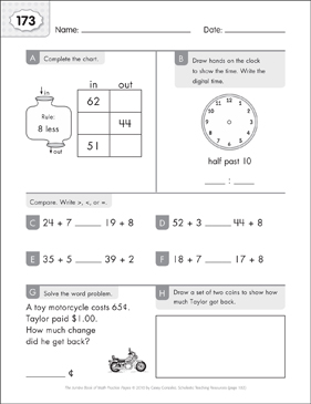 Math Practice Page: 173 (Grades 1-2) - Printable Worksheet