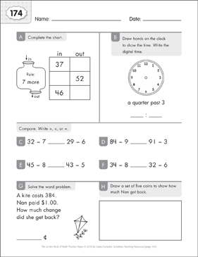 Math Practice Page: 174 (Grades 1-2) - Printable Worksheet