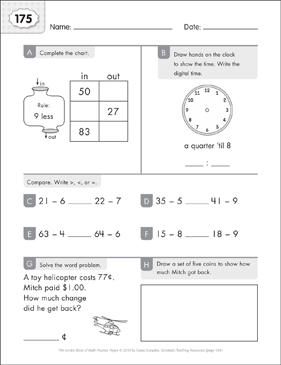 Math Practice Page: 175 (Grades 1-2) - Printable Worksheet