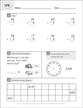 Math Practice Page: 179 (Grades 1-2) - Printable Worksheet