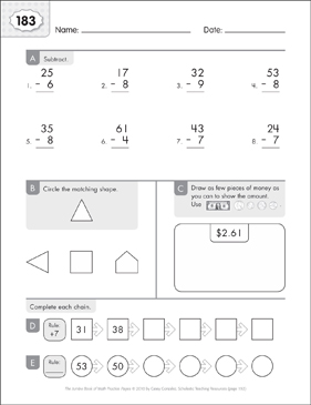 Math Practice Page: 183 (Grades 1-2) - Printable Worksheet