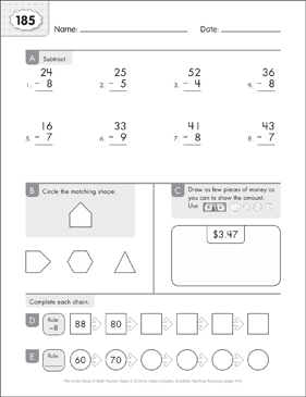 Math Practice Page: 185 (Grades 1-2) - Printable Worksheet