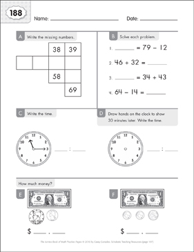 Math Practice Page: 188 (Grades 1-2) - Printable Worksheet