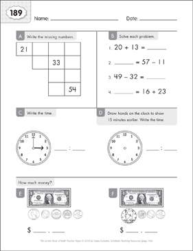 Math Practice Page: 189 (Grades 1-2) - Printable Worksheet