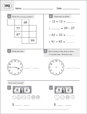 Math Practice Page: 190 (Grades 1-2) - Printable Worksheet