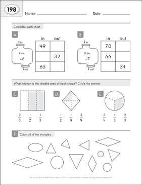 Math Practice Page: 198 (Grades 1-2) - Printable Worksheet