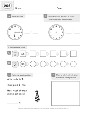 Math Practice Page: 202 (Grades 1-2) - Printable Worksheet