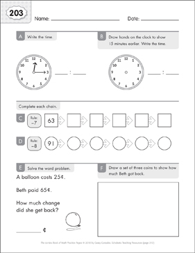Math Practice Page: 203 (Grades 1-2) - Printable Worksheet
