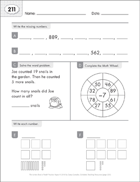 Math Practice Page: 211 (Grades 1-2) - Printable Worksheet