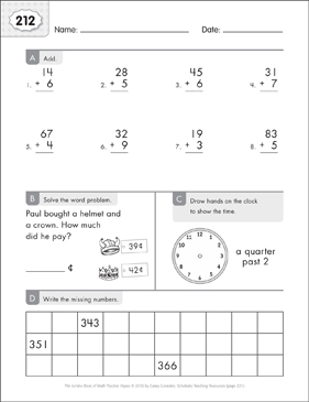 Math Practice Page: 212 (Grades 1-2) - Printable Worksheet