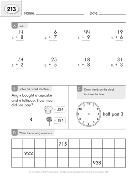 Math Practice Page: 213 (Grades 1-2) - Printable Worksheet