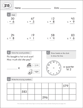 Math Practice Page: 215 (Grades 1-2) - Printable Worksheet