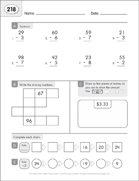 Math Practice Page: 218 (Grades 1-2) - Printable Worksheet