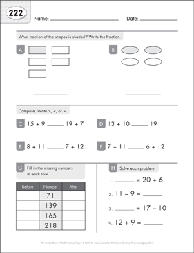 Math Practice Page: 222 (Grades 1-2) - Printable Worksheet