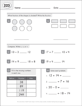 Math Practice Page: 223 (Grades 1-2) - Printable Worksheet