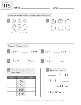 Math Practice Page: 224 (Grades 1-2) - Printable Worksheet