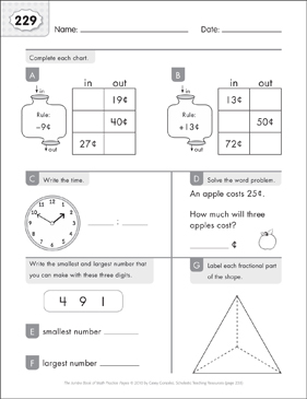 Math Practice Page: 229 (Grades 1-2) - Printable Worksheet