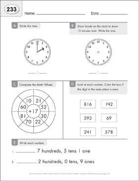 Math Practice Page: 233 (Grades 1-2) - Printable Worksheet