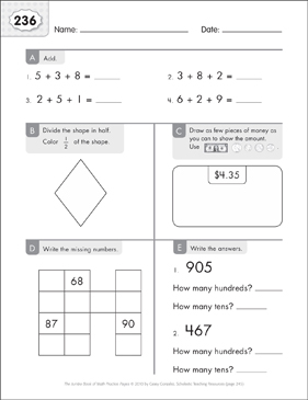 Math Practice Page: 236 (Grades 1-2) - Printable Worksheet