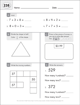 Math Practice Page: 238 (Grades 1-2) - Printable Worksheet
