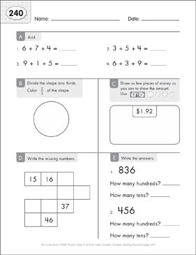 Math Practice Page: 240 (Grades 1-2) - Printable Worksheet