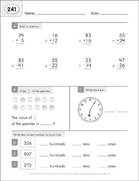 Math Practice Page: 241 (Grades 1-2) - Printable Worksheet