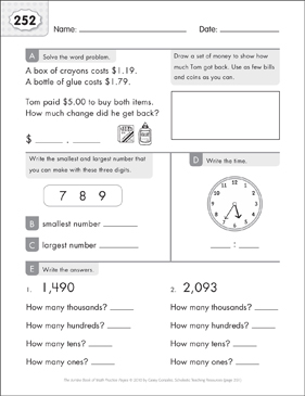 Math Practice Page: 252 (Grades 1-2) - Printable Worksheet