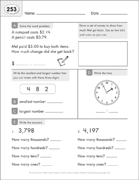 Math Practice Page: 253 (Grades 1-2) - Printable Worksheet