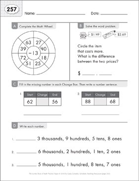 Math Practice Page: 257 (Grades 1-2) - Printable Worksheet