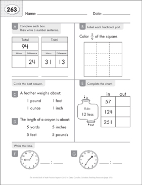 Math Practice Page: 263 (Grades 1-2) - Printable Worksheet