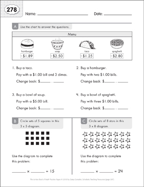 Math Practice Page: 278 (Grades 1-2) - Printable Worksheet