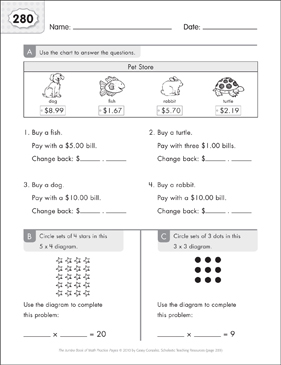 Math Practice Page: 280 (Grades 1-2) - Printable Worksheet