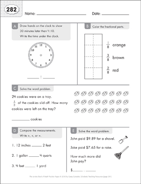 Math Practice Page: 282 (Grades 1-2) - Printable Worksheet