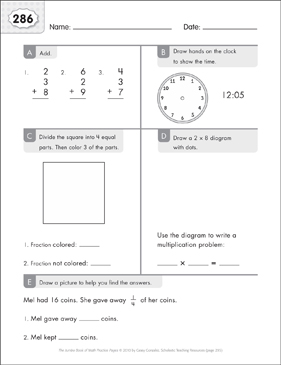 Math Practice Page: 286 (Grades 1-2) - Printable Worksheet