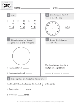 Math Practice Page: 287 (Grades 1-2) - Printable Worksheet