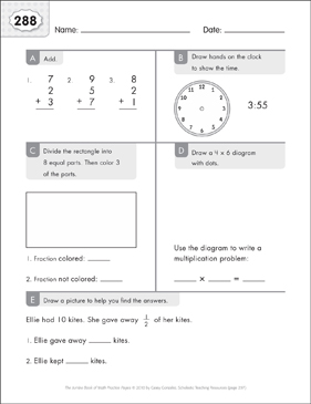 Math Practice Page: 288 (Grades 1-2) - Printable Worksheet